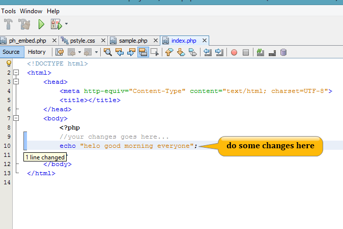 make changes in the file