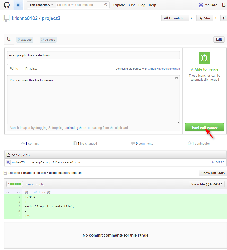 click on send pull request