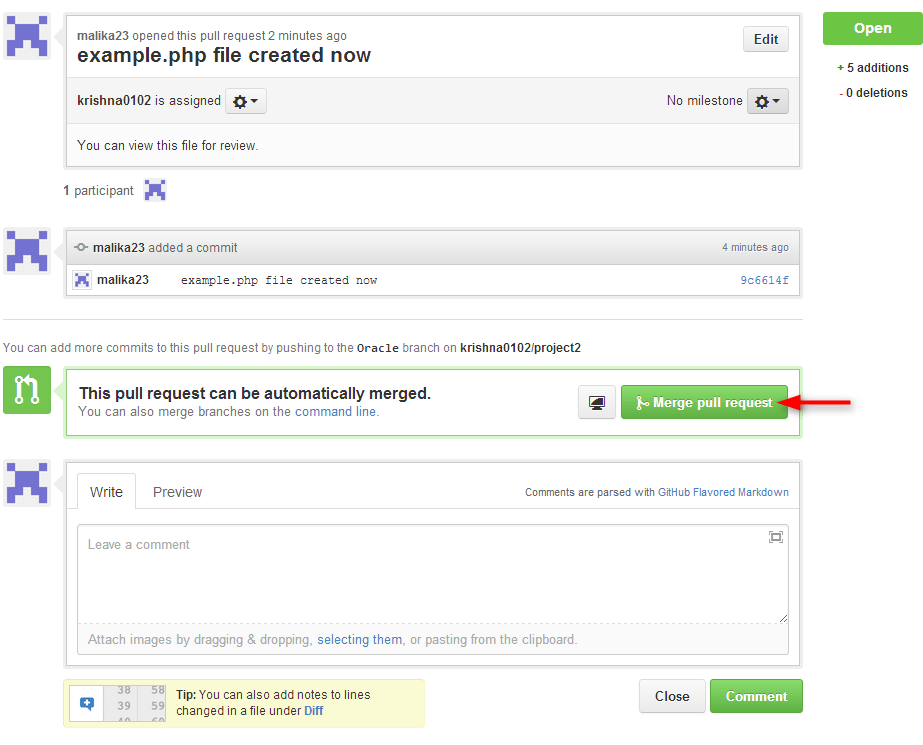 click on merge pull request