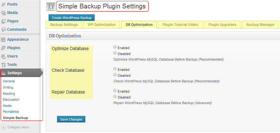 simple backup plugin