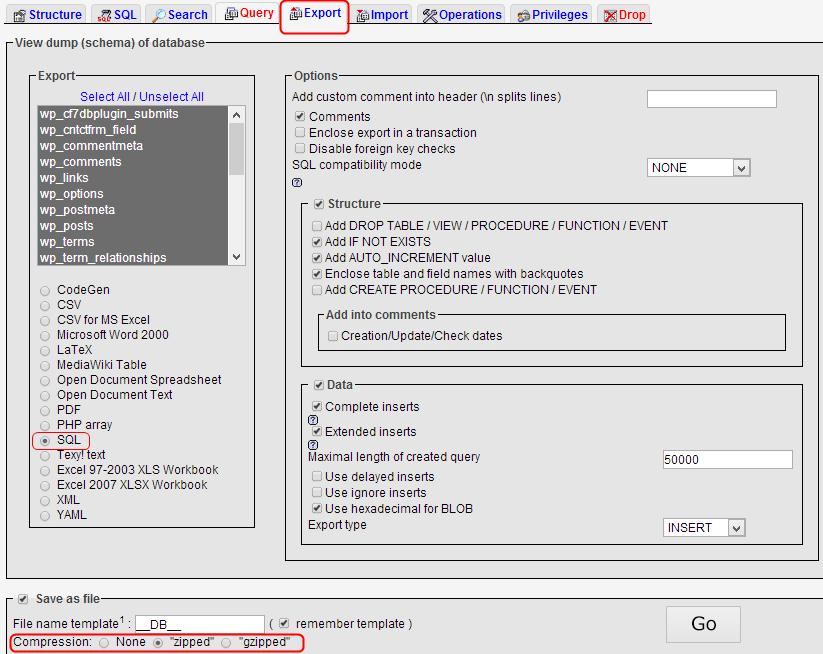 PhpMyAdmin backup of database