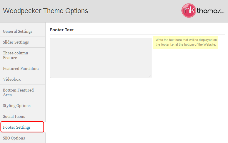 footer settings in FormGet