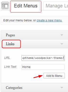 create custom home page in the menu