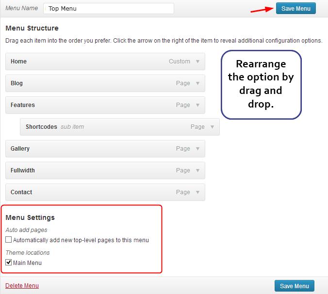 customize menu structure