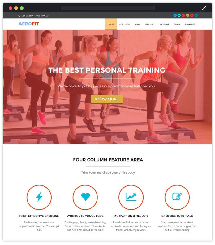 Aerofit Free Responsive And Beautiful WordPress Themes InkThemes