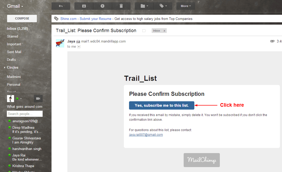 confirm subscription url