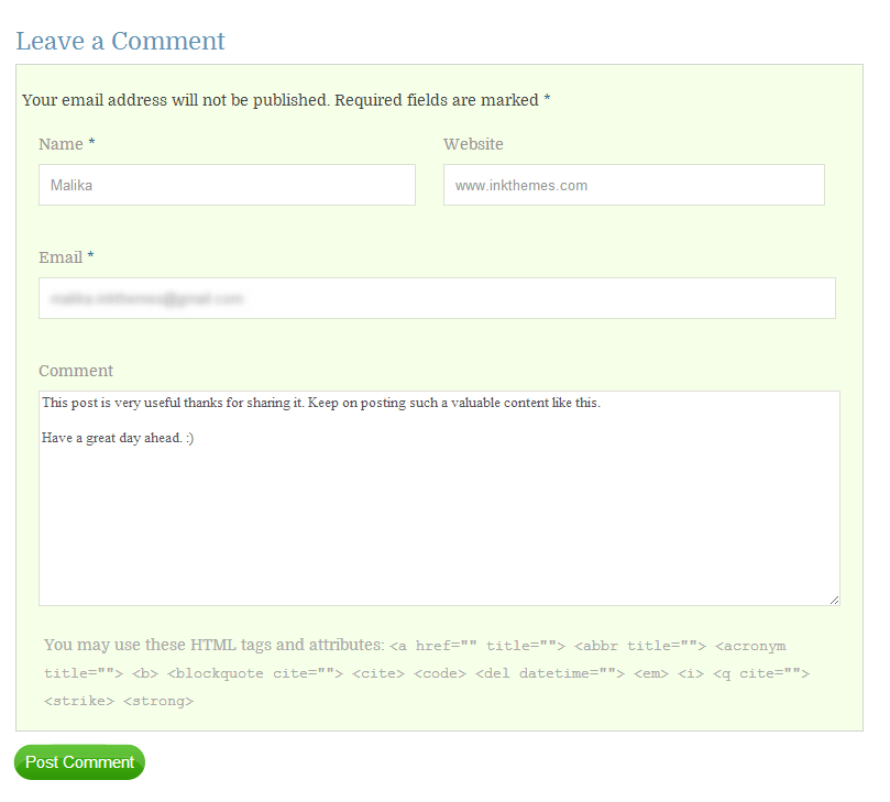 ajax comment form