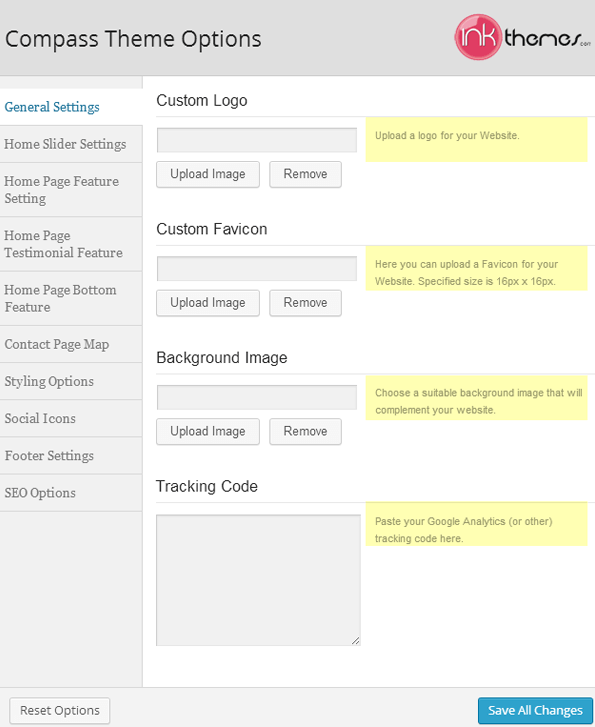 Various functions of the Theme Options Panel