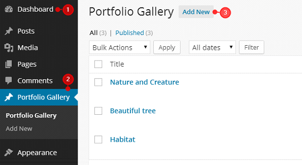 How to build up the Portfolio Gallery