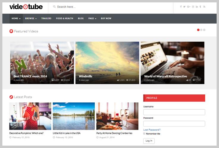 VideoTube - Free Responsive Video WordPress Themes