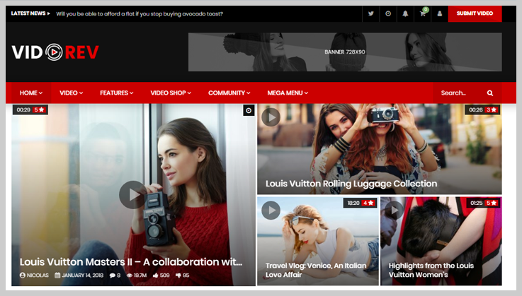 VidoRev - Free Responsive Video WordPress Themes