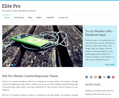 Elite Pro - Simple and Clean, Flat WordPress Theme