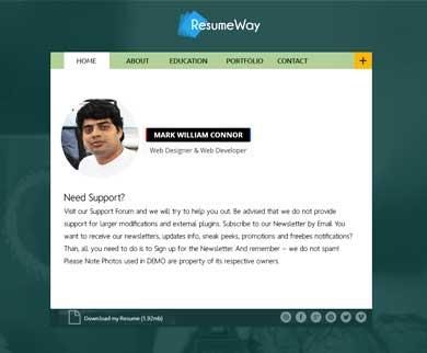 ResumeWay - WordPress Theme To Build Your Online Resume Website