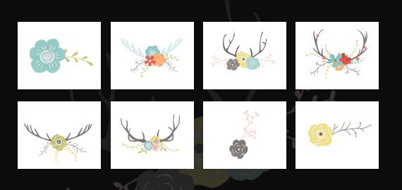 Antlers, Flowers Vector Graphics Design Illustrations