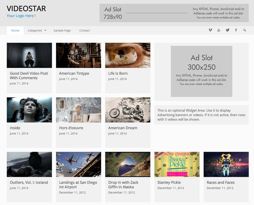 Videostar - video wordpress theme
