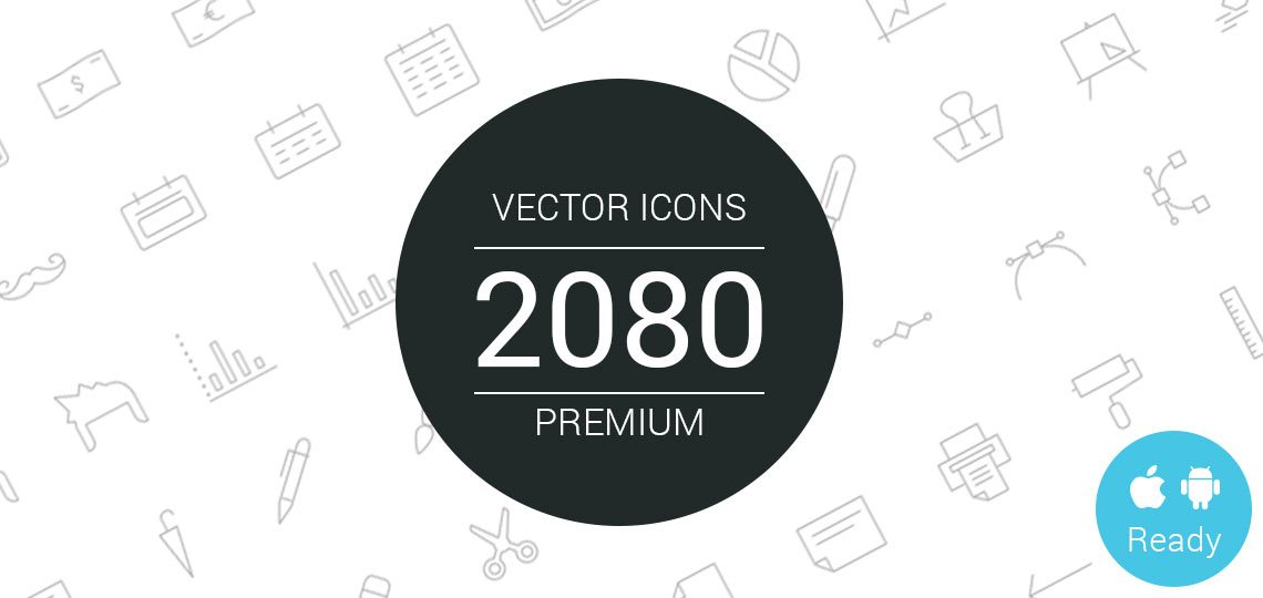 2,080 Set of Line + Solid Vector Icons