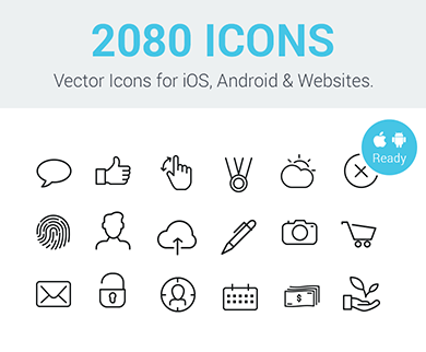 2,080 Set of Line + Solid Simple Vector Icons