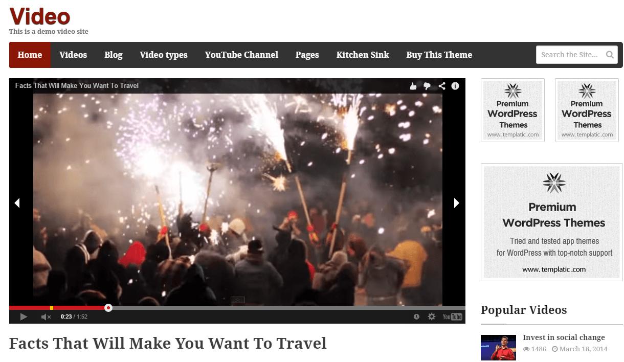 The video - Video wordpress theme