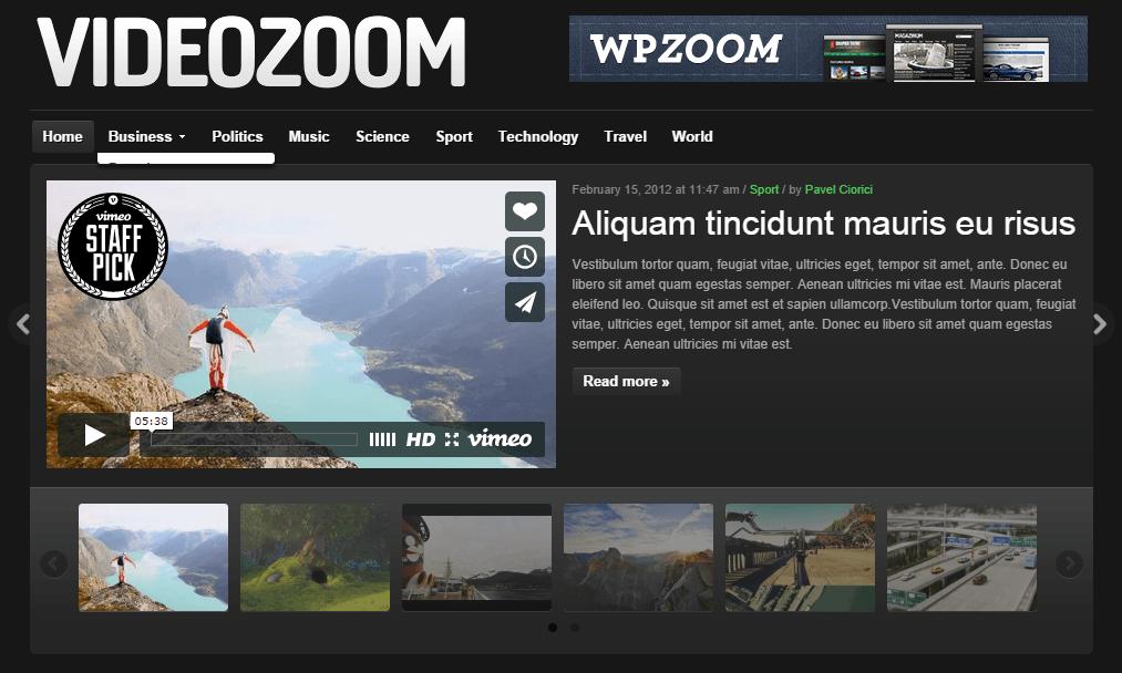 videozoom - video wordpress theme