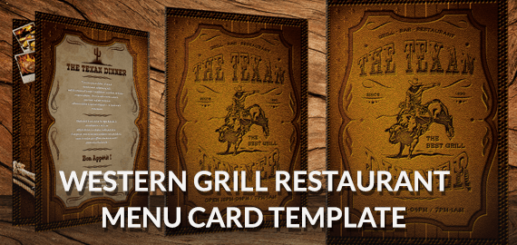 Western Grill – Premium Restaurant Menu Cards Design Psd
