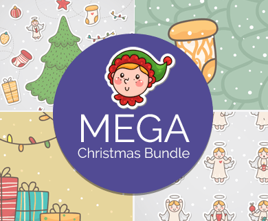 Christmas and New Year Stickers + Banners