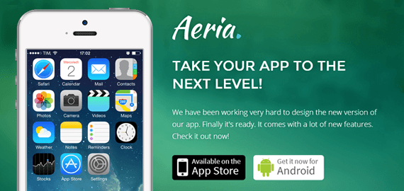 Aeria – One Page App Landing Page Template on Bootstrap