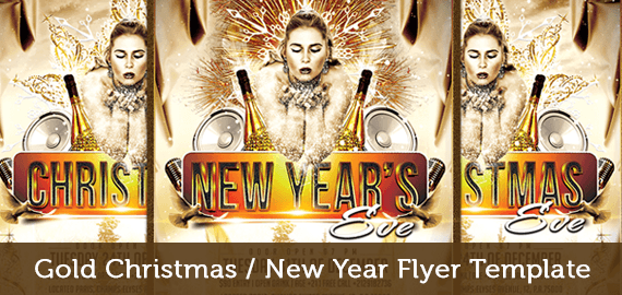 Christmas and New Year Eve Party Flyer Template