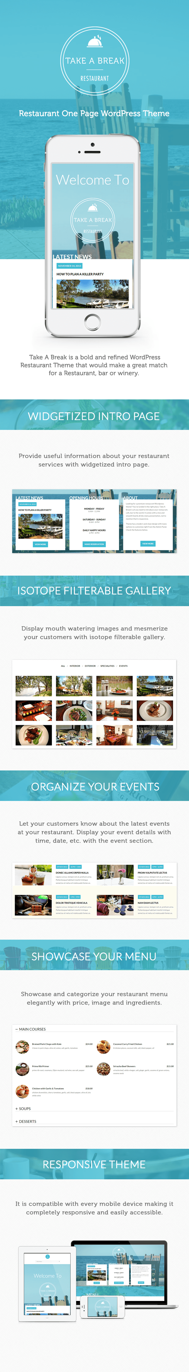 One page restaurant wordpress theme