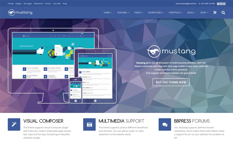 mustang - responsive and beautiful wordpress theme