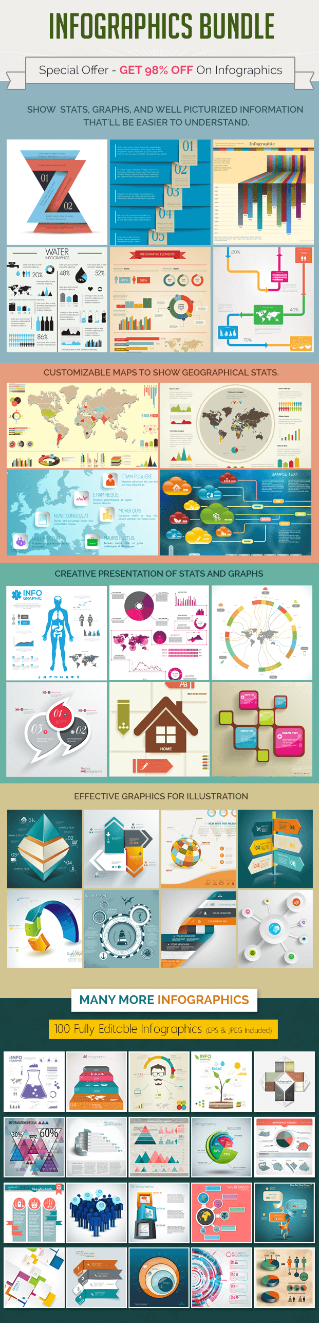 infographics bundle - maps, illustrative graphics, signs and