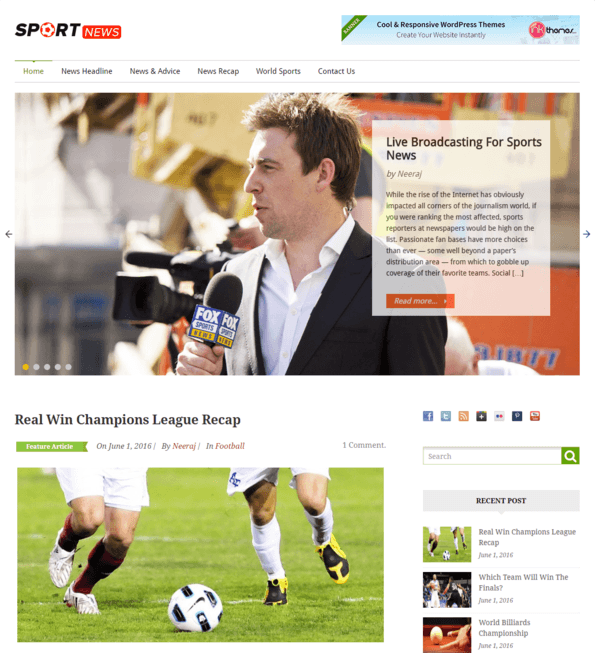 sports news wp theme