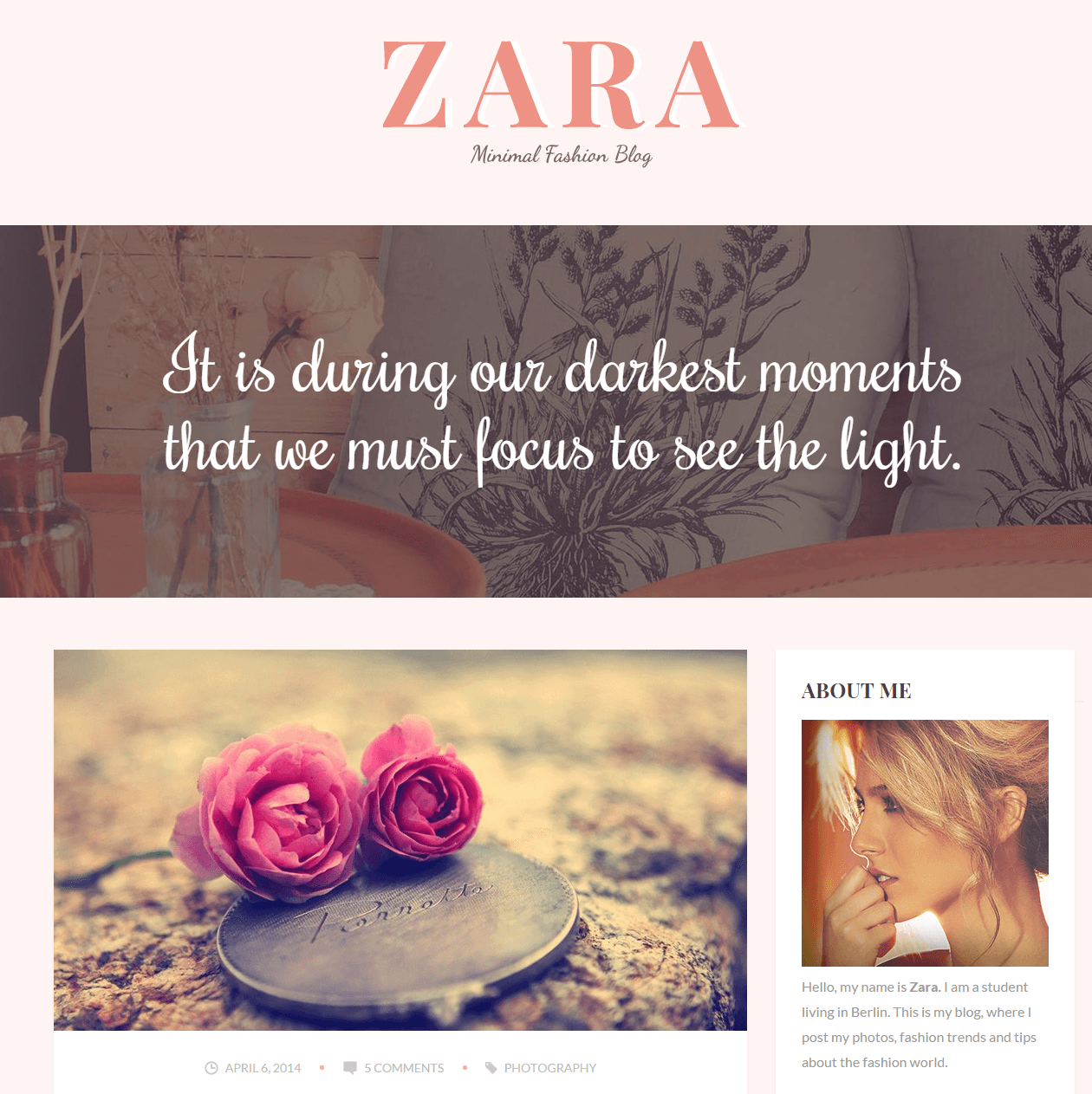 zara fashion blog wordpress theme