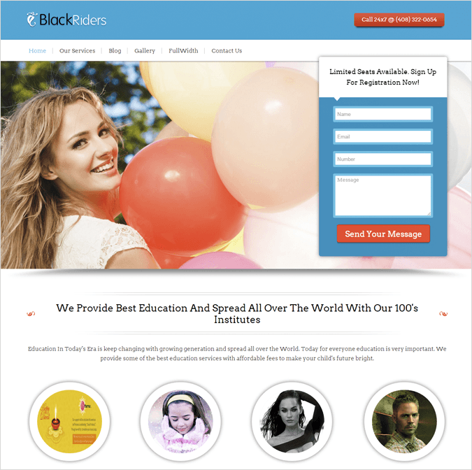 BlackRiders Landing Page Wp Theme InkThemes