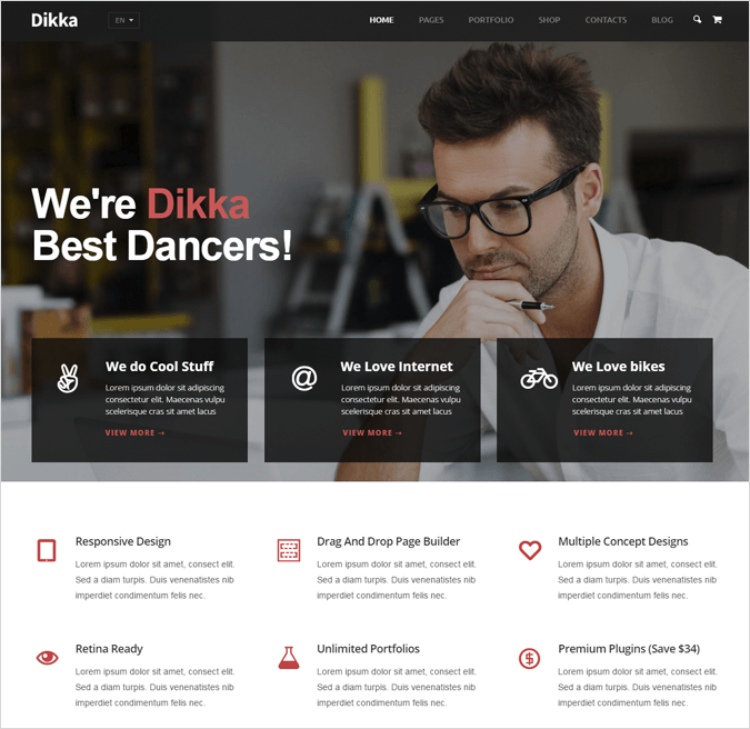Dikka WordPress Landing Pages