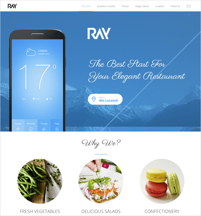 Ray WordPress Landing Page