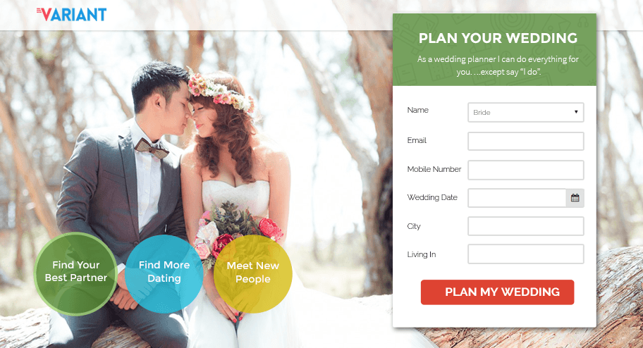 variant - beautiful landing page templates - for wedding, taxi booking, event planning.