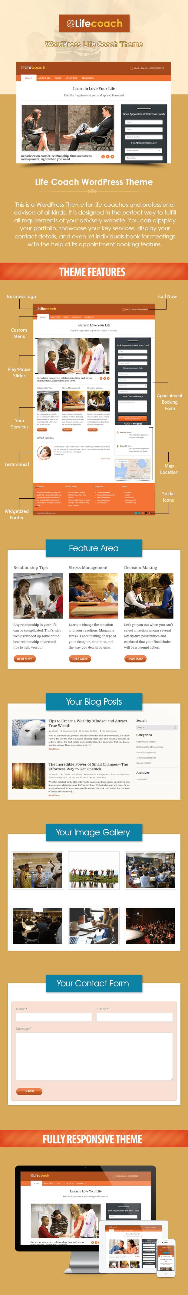 perfect lifecoach wordpress theme features