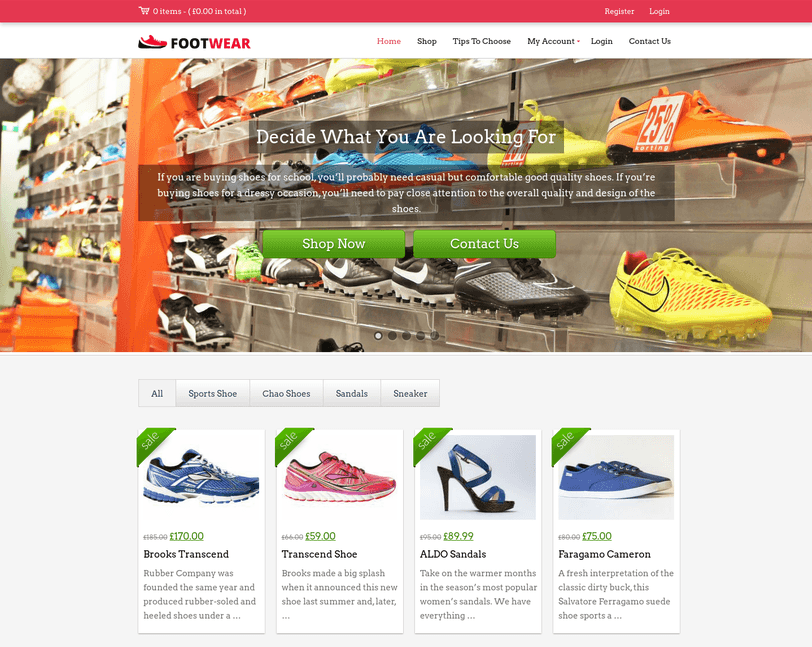 foot wear wp theme