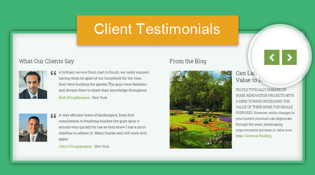 theme with customers testimonials for landscaping business