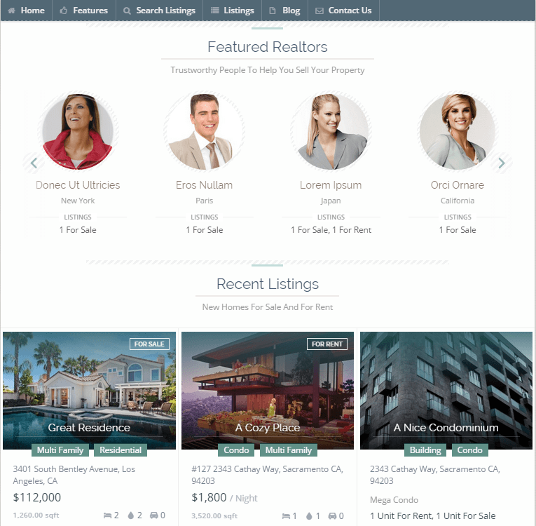 agents and property dealers wordpress theme