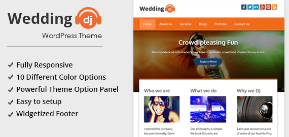 Wedding DJ - Wedding Music WordPress Theme [Free Install] | InkThemes