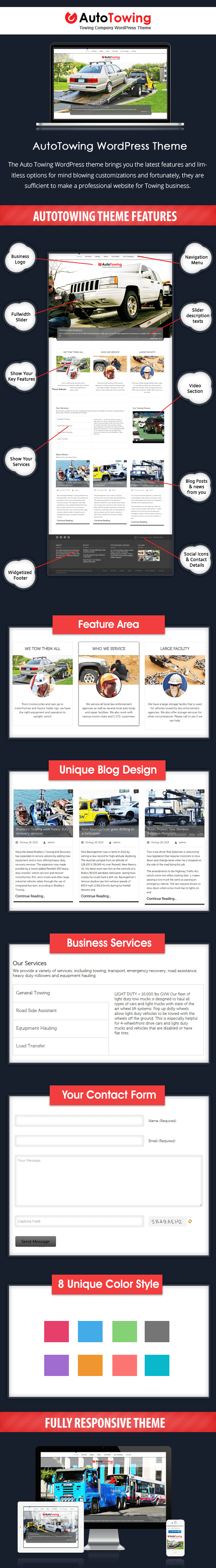 WordPress theme for auto towing and hauling business