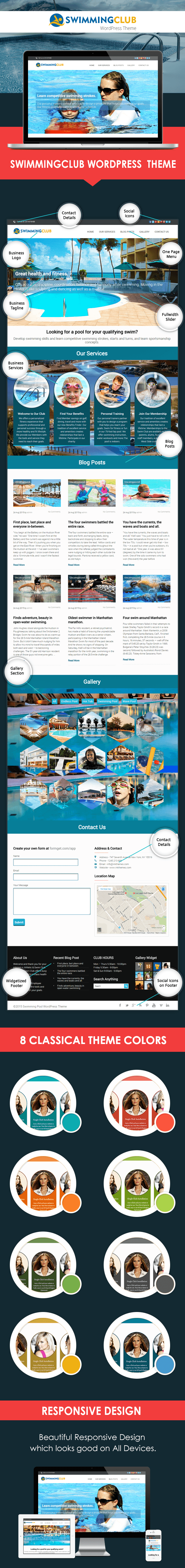 WordPress theme for swimming pool clubs and academies