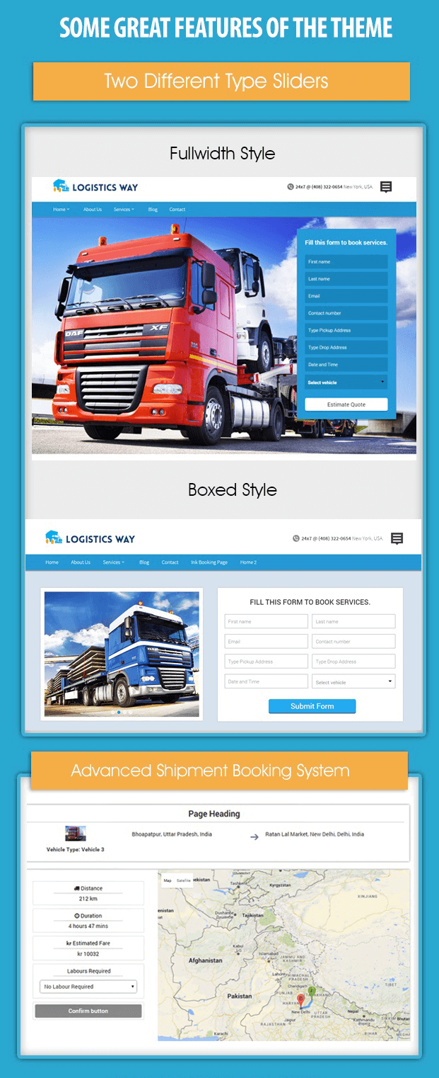 Features - Logistics Booking WordPress Theme