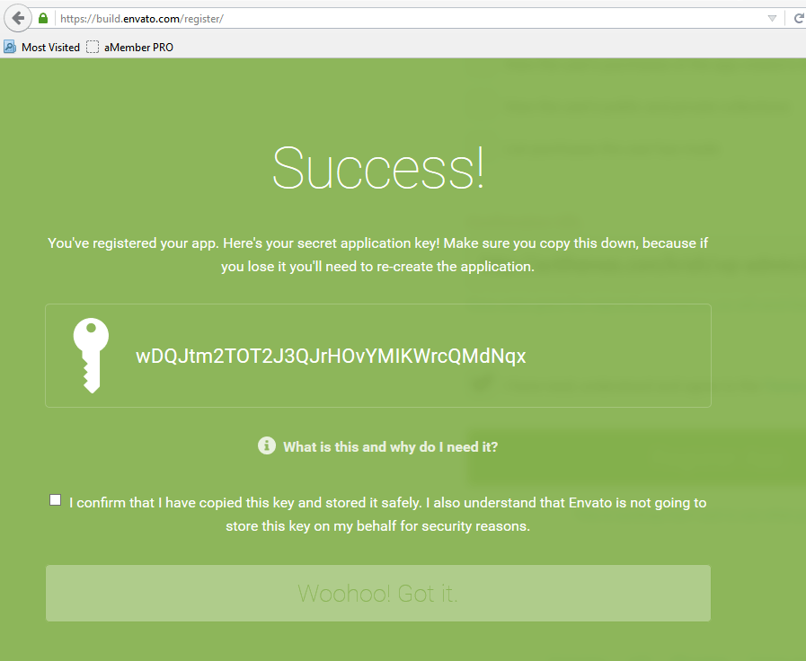 Step4. Get the Secret Application Key