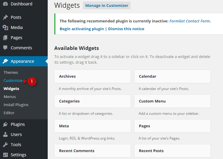 Embedding FormGet Form In Variant Landing Page WordPress Theme