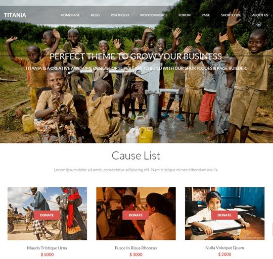 titania theme - charity organizations