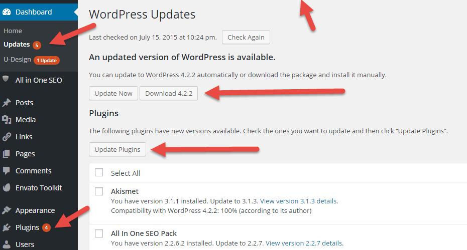wp updates notification