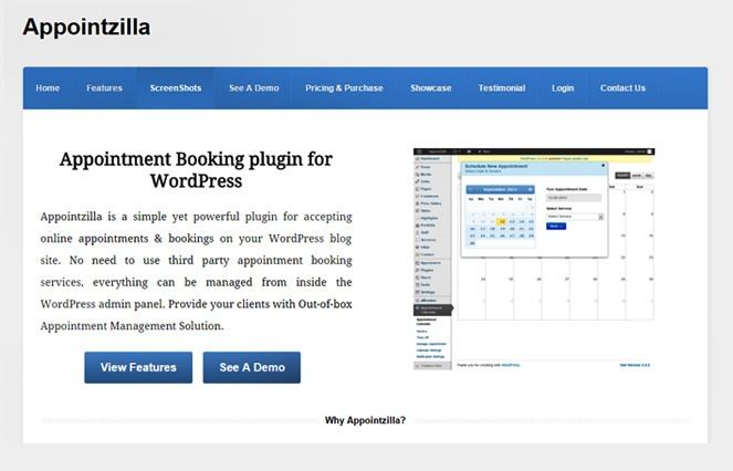 Appointzilla - wordpress booking plugin