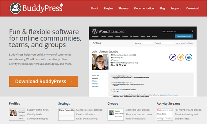 BuddyPress forum software